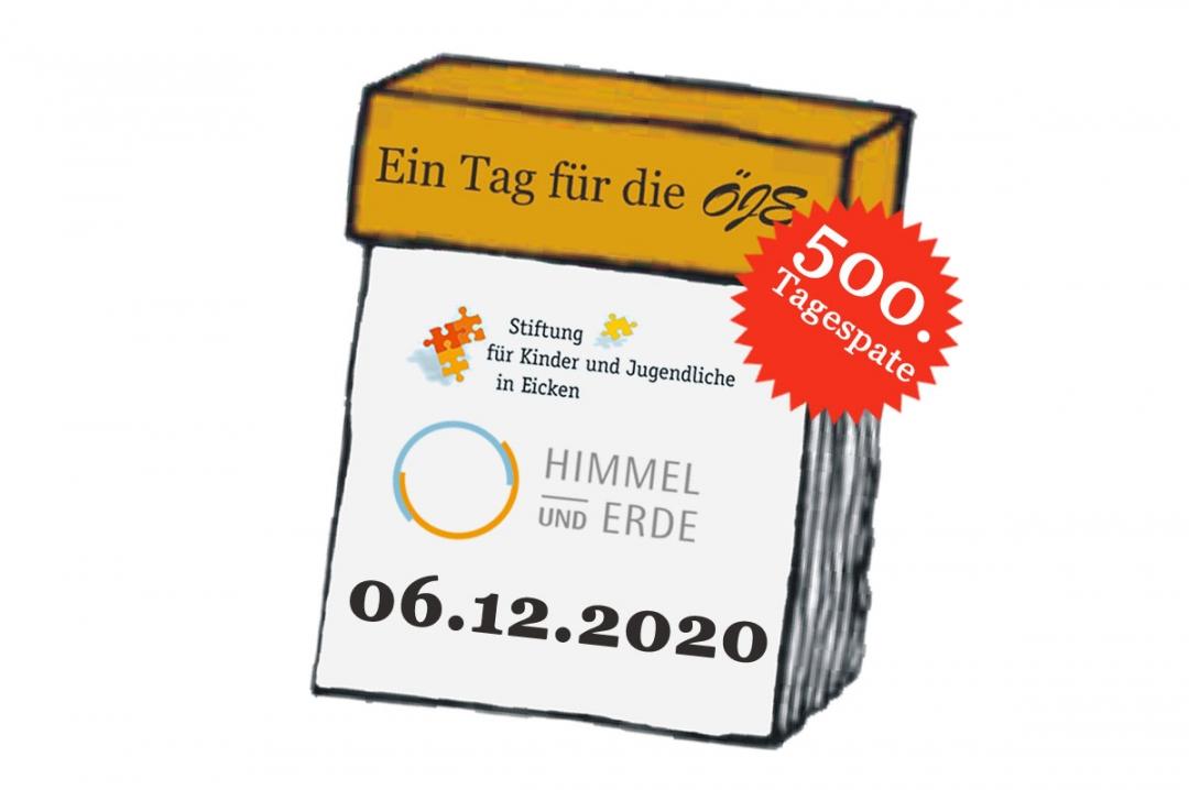 """500. Tagespate: """"Stiftung für Kinder und Jugendliche in Eicken"""" und """"Stiftung Himmel und Erde"""""""